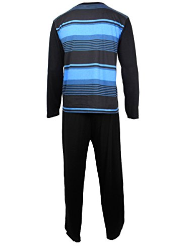 Herren Freizeit PJ Schlafanzüge Sets Nachtbekleidung PJ 2-teilig Pyjama Set Herren Größe M-XXL Schwarz / Blau (L/S Hose)