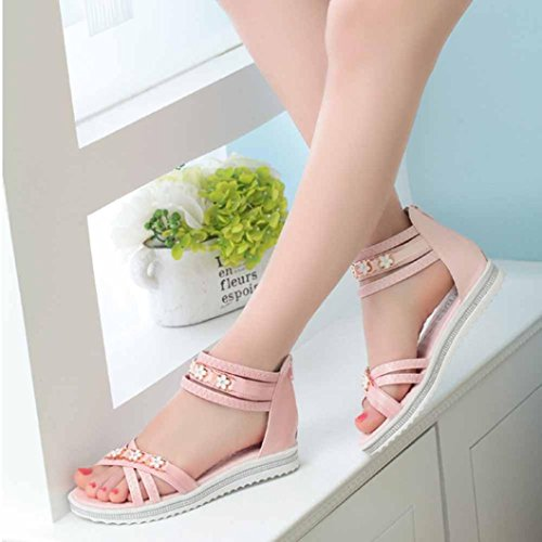 FEITONG Frauen Flache Schuhe Sommer weiche Leder Freizeit Sandalen Peep-Toe römischen Schuhe Rosa