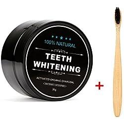 Poudre de Blanchiment des Dents & Brosse à Dents, FOXTSPORT Teeth Whitening Blanche Dentifrice Organiques 100% Naturelles Activé Au Charbon De Coconut (1.05 once)