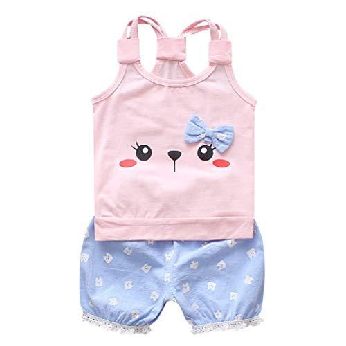 wuayi  Baby Mädchen Outfits Set, Mädchen Cartoon Cat Print Weste Tops T-Shirt Kurze Hosen Kleidung 6 Monate - 3 Jahre