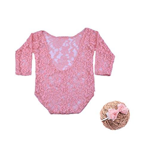 (Uzinb Baby-Langarm-Body Neugeborenes Fotografie Props Prinzessin Lace Kostüm mit Stirnband-Bogen-Knoten Infant Outfits)
