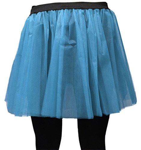 A-Express Damen Lange 36cm Tütü Rock Neon Tutu Netz Tüllrock 3 Lagen Petticoat für verrücktes Kleid Party Kostüm - (Blau, Größe 34-44)