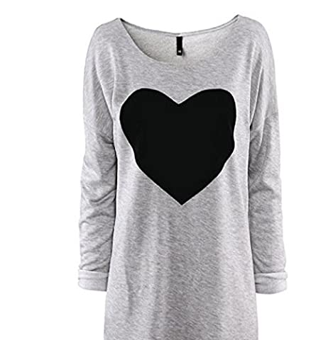 Blouse , Eenkula New Elegant Fashion Women Love Heart Printed Long Sleeved Round Neck T-Shirt (XL)