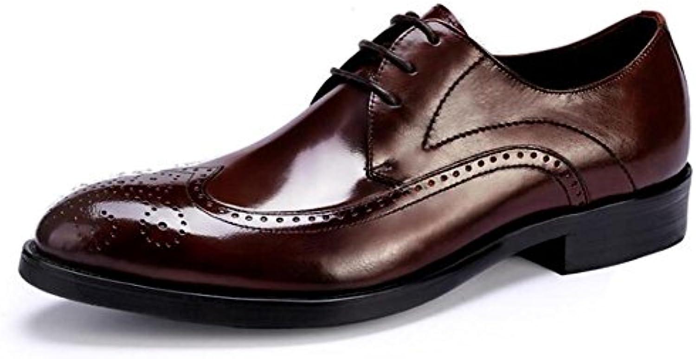 Zapatos de hombre piel genuina Negocio Formal Vestir Acento irlandés Cordones Boda Tamaño 38 a 45 , Brown , EU40 -