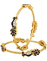 Zeneme Designer Peacock Design Gold Plated Jewellery Bangles For Women And Girls Set Of 2 (2.4)