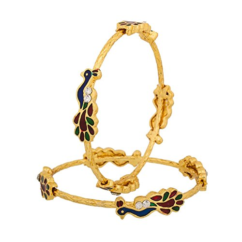 Zeneme Peacock Gold Plated Bangle Set For Women And Girls ,Set Of 2 (2.8)  available at amazon for Rs.249
