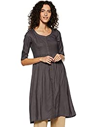 Indi lite Women Dark Grey Solid Rayon Half Sleeve Knee Length Fit and Flare Kurta with Buttons
