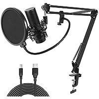TONOR USB Kondensator Mikrofon Aufnahme Microphone Aufhängung Arm-Stativ mit Shock-Halterung Verstellbarem Mikrofonständer Kit, Cardioid für Musik- und Video aufnehmen, Podcast usw