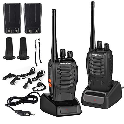 OCDAY Baofeng BF-888s Walkie-Talkie 6 km Entfernung, 2 Teile, UHF 400-470 MHz, 16 Kanäle Walky Talky, wiederaufladbar, inkl. Kopfhörer, tragbarer Transceiver mit LED-Licht
