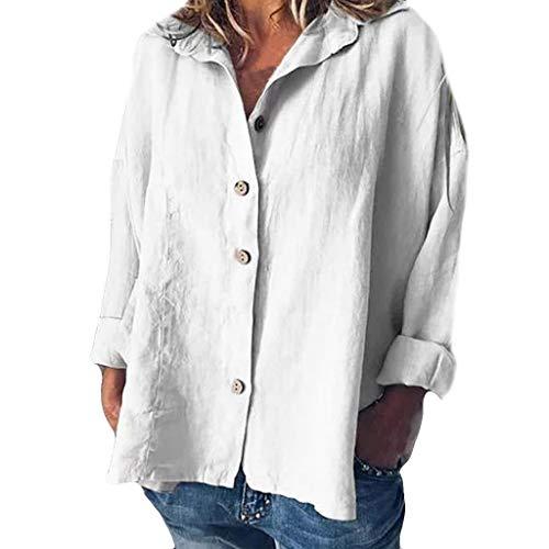 iYmitz 3/4-Arm Damen Streetwear Einfarbig Rundausschnitt Leinen Frauen Freizeit Bluse Sommer Freizeithemd(Z5-Weiß,EU-46/CN-3XL)