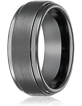 Daesar Schmuck Bandringe Edelstahl Herrenring Ringe Runde Gotik Schwarz Ringe für Herren