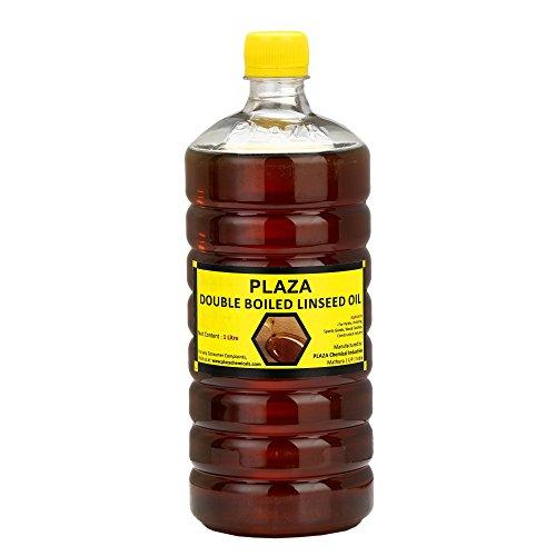 PLAZA Leinsamenöl, doppelt gekocht, 1 Liter, für Holzveredelung, an Wänden vor dem Auftragen von Farbe, Mischen in Knetmasse, Holzmöbel, Außenmöbel, Cricketschläger, Hockey, Gitarre