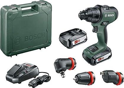 Bosch AdvancedImpact 18Set - Taladro percutor a batería (2 baterías 18 V 2,5 Ah, cargador AL 1830 CV, HMI, con accesorios, en maletín)