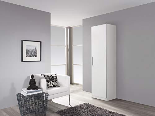 Rauch Möbel Minosa, Schrank Drehtürenschrank  1-türig, inklusive Zubehörpaket Basic 4 Einlegeböden, Weiß, 41 x 47 x 197 cm