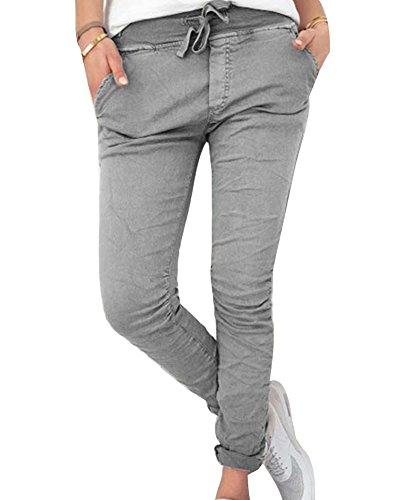 Mujer Casual Pantalones Chinos Elasticos Cintura Elastica