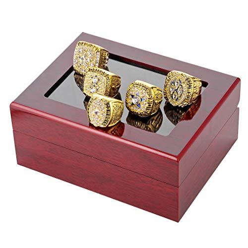 WANZIJING 5-TLG männliche Ringe Set, Dallas Cowboys Championship Replica Ring Super Bowl Ringe für Sport Fan Collection Größe 8-14 Gold,13