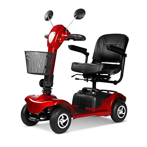 HOPELJ Elektroroller Auf 4 Rädern,Elektrischer Rollstuhl Faltbar 250W 20AH 6.2Mph 18.6 Meilen Reichweite,Red,Leadacidbattery