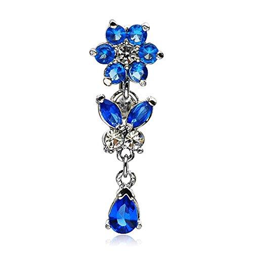 Strass Kristall Anhänger (Autiga Bauchnabelpiercing Blüte Blume Tropfen Schmetterling Anhänger Strass Zirkonia Kristall Blau)
