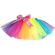 Brightup Niña De Ballet Cordón Arco Iris De Baile En Capas Tutú Mini Falda, Falda