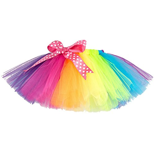 Brightup Little Girl Ballet Lace Rainbow Layered Dancing Tutu Mini Skirt,Pettiskirts Bowknot Skirt Short Dress