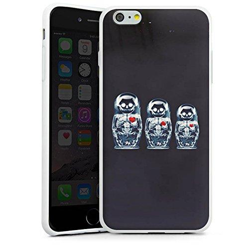 Apple iPhone X Silikon Hülle Case Schutzhülle Bones Skull Totenkopf Silikon Case weiß