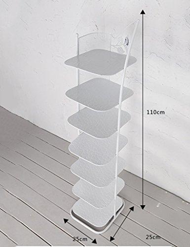 klein schmal schuhregal Metall weiß schwarz Für Stiefel-Balkon-Eingangs-Eckeingang 3 Bis 6 Reihen-stapelbares Regal (Farbe : Weiß, größe : 7 Tier)