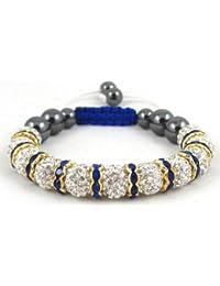 11-Ball White Bead Shamballa Bracelet with golden Blue Crystalline Spacers Ideal Gift for Birthdays