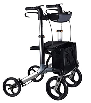 Yogi Aluminium Rollator Grey - Mobility Walkers with Tray, Bag, Backrest - Mobility Aids with Wheels - Walking Frame with Seats and Wheels That Fold - Walking Aids