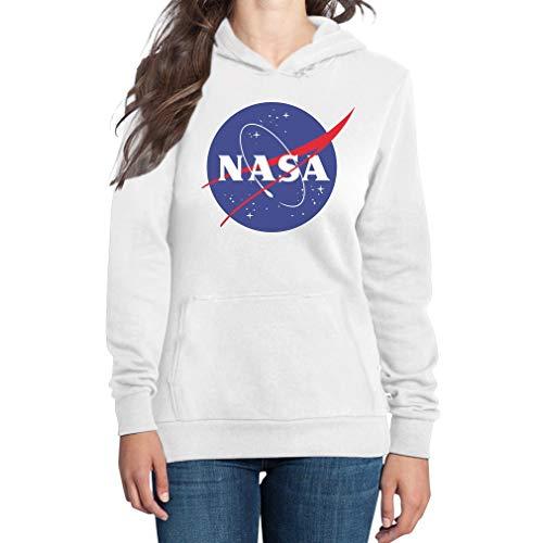 Shirtgeil NASA Space Raumfahrt Damen Outfit Damen Kapuzenpullover Hoodie Large Weiß