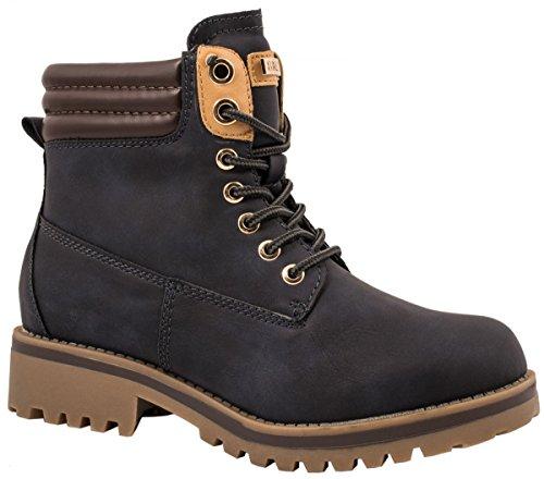 Elara Damen Stiefeletten | Profilsohle Schnürer | Worker Boots | Gefüttert & Ungefüttert Blau 39