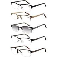 amcedar metal halfframe reading glasses men 5pack spring hinges stainless steel material