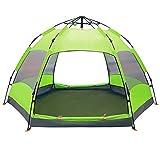 Familienzelt Automatische Presse Instant Pops Up Zelt 5-8 Personen Camping Wandern Wasserdichter sechseckiger Zelt Anti UV Markise Zelte Outdoor Sun Shelter,Green