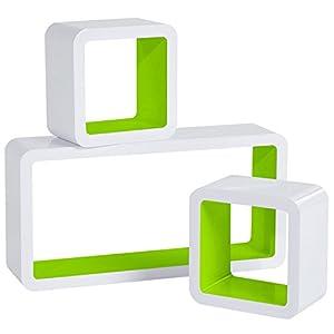 WOLTU RG9229gn Wandregal Cube Regal 3er Set Bücherregal Regalsysteme, Retro Hängeregal Würfel, weiß-grün