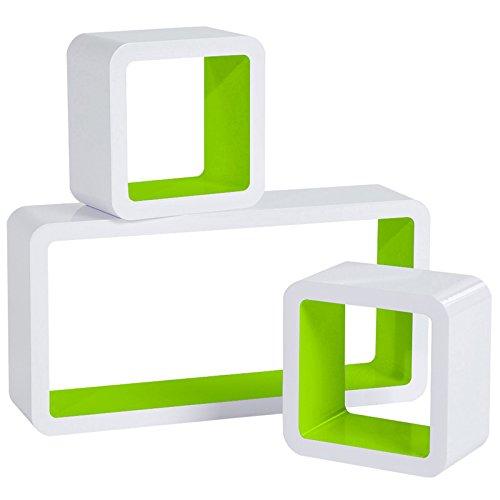 Woltu rg9229gn mensole da muro mensola a cubo scaffale parete libreria cd legno mdf moderno 3 pezzi diametro diverso verde-bianco