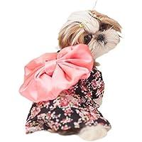 DELEY Cane Giapponese il Kimono Costume Cucciolo di Gatto Bowknot Cappotto Abbigliamento Abiti da Sposa Nero S
