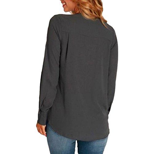 Vovotrade Femmes Choker Neck T-shirts manches longues Chemisier V Neck Chemise Gris