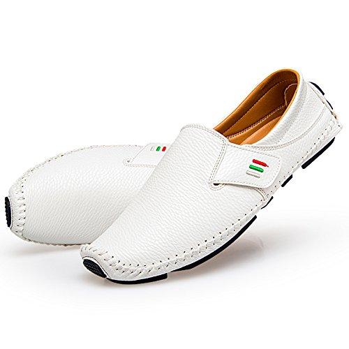Herren Fahren Schuhe Leder Slipper Mokassins Weich Schuhe Männer Freizeit Atmungsaktiv Loafers Halbschuhe Weiß