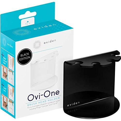 OVIDEN® Ovi-One Halter schwarz für bis zu 4 Bürstenköpfe, Zahnbürstenhalter für 4 Aufsteckbürsten, Black Edition