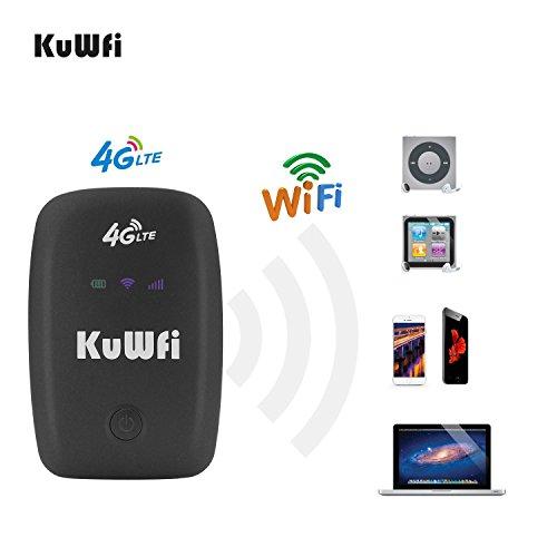KuWFi Mobiler WiFi WLAN-Router, Freigesetzter Reisepartner 150Mbps 4G LTE Router mit SIM Kartensteckplatz Unterstützung LTE FDD B1 / B3 / B5 Support Arbeiten mit E-Plus/T-Mobile SIM Karte