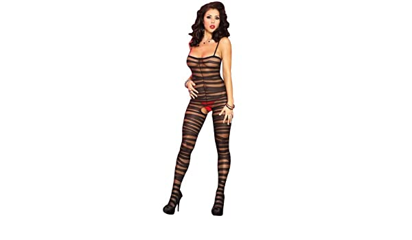 a521a4d9511 Music Legs Women's Spandex Sheer Bandeau Crotchless Bodystocking, Black,  One Size: Amazon.co.uk: Clothing