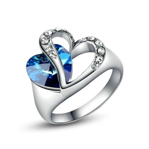 Yoursfs personalità doppio Amore Cuore di cristallo Ocean anello di fidanzamento in oro placcato