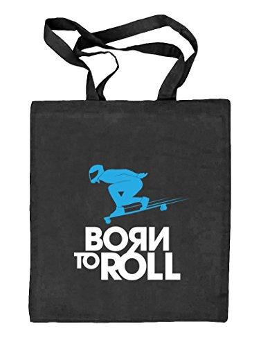 Longboard - Born To Roll, Skateboard Natur Stoffbeutel Jute Tasche (ONE SIZE) schwarz natur