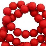 Sadingo Perlen zum auffädeln, Matte Kunststoffperlen - 6 mm - 100 Stück - Schmuck basteln, Armbänder, Ketten selber Machen, Farbe:Rubinrot
