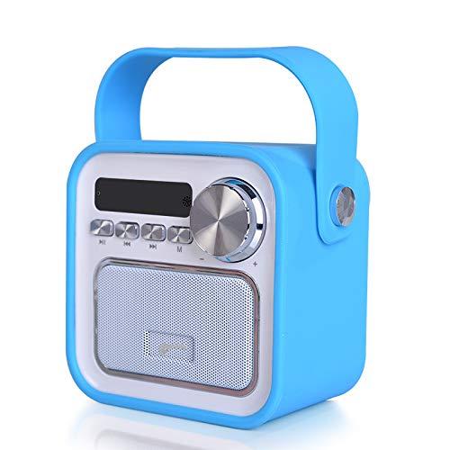 Altavoz portátil con Bluetooth y radio FM, color azul, conector USB, mando a distancia, reloj, radio para la cocina, el baño o para los niños, con asa, 5 W, inalámbrico, diseño vintage, para iPhone, Samsung, Huawei, HTC, LG, Nokia, Xiaomi o Panasonic