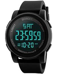 Hombres del reloj deportivo multifuncional Militar impermeable diseño simple números grandes pantalla Lcd Digital Casual reloj con cronómetro FECHA de caucho de color negro reloj de pulsera, Black 2, Sport