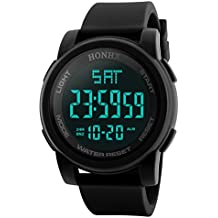 Reloj deportivo multifuncional militar para hombres, impermeable, diseño simple con números grandes en pantalla