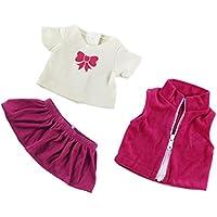 Sharplace Set de Fashion Camiseta Jeans Top Falda para 18inchs Americana Muchacha Muñecas - Rojo Blanco