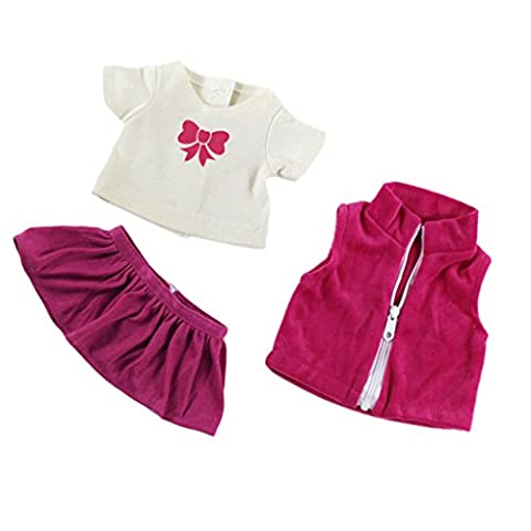 Sharplace Clothes For 18' American Girl Our Generation My Life Doll T-Shirt W/ Coat Outfit Pleated Skirt suit