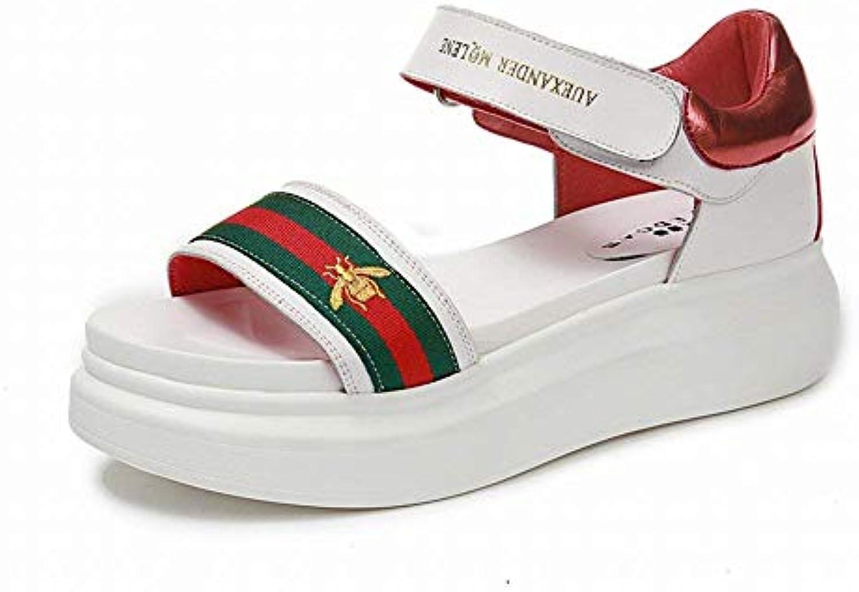 FuweiEncore À Bout Ouvert Femme Sandales Éponge Gâteau Sandales Femme Fond  Fort Étudiant Chaussures Mode Velcro Chaussures (coloré... 5401bb 47a9673396a