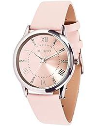 Damen Armbanduhr Wasserdicht Quarz Klassische Luxusuhr mit Kristall Zifferblatt Uhr Leder für Frau Mädchen weiblich